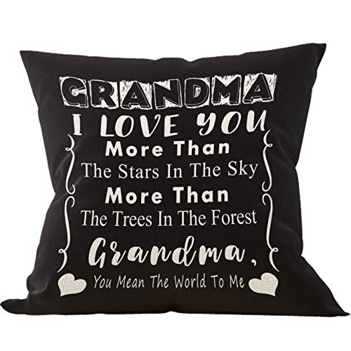 Grandma I Love You More Than The Stars in The Sky More Throw Pillow Cover, Onederful Grandma Gifts from Grandchildren, Grandma Gifts, 18 x 18 Inch Linen Cushion Cover for Sofa Couch Bed