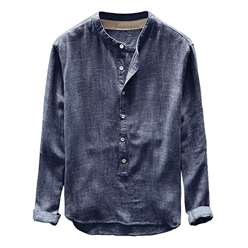YFSLC-Studio Chemise Homme Manches Longues,Mens Navy Sweat Fashion Slim Fit Automne Hiver Occasionnels Bouton en Lin Et Coton Chemisier Long Sleeve Top Sweatshirt Oversized,4XL