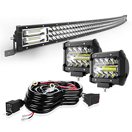 Led Light Bar Curved TURBO SII 42 Inch 576W Triple Row Flood Spot Combo Beam Led Bar W/ 2Pcs 4 Inch 60W Off Road Driving Fog Lights with Wiring Harness-3 Leads for Trucks Jeep Ford Polaris ATV Boats