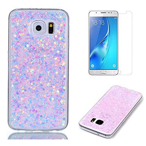 Pour Coque Samsung Galaxy S7 Edge Silicone Souple Étui avec Écran Protecteur, OYIME [Paillette Brillante Bleu] Housse Glitter Luxe Ultra Fine Transparent Couverture Anti-Scratch Flexible