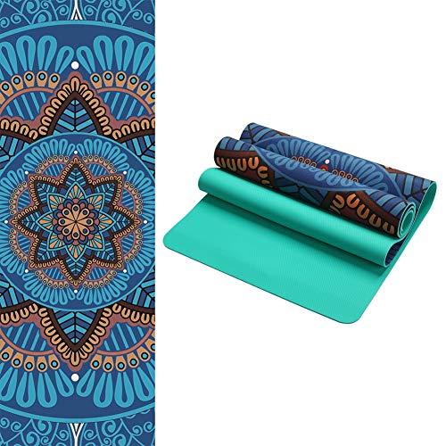 ZQNHXY La Esterilla de Yoga Combo 5mm. Dos en Uno   Antideslizante   Acolchada   Ecológica   Lavable a la Máquina,A