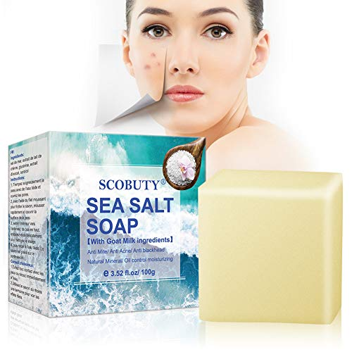 Sea Salt Soap, Sea Mineral Soap, Invigorating Bath Soap, Cleaner Removal Pimple Pores Acne Goat Milk Moisturizing Face Care Soap, for All Skin type