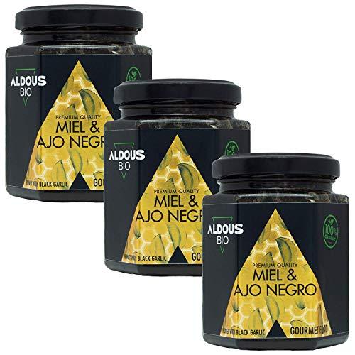 Auténtica Miel Ecológica con Ajo Negro Ecológico | 100% Natural y Artesanal | Sin Azúcar Añadido | Producida en España | Certificación ecológica oficial (3 x 240g)
