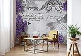 Wallsticker Warehouse Lavendel Blumen Libelle Vintage Fototapete - Tapete - Fotomural - Mural Wandbild - (1799WM) - XL - 254cm x 184cm - Papier (KEIN VLIES) - 2 Pieces