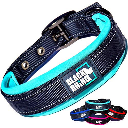 Black Rhino - The Comfort Collar Ultra Soft Neoprene Padded Dog Collar for All Breeds - Heavy Duty Adjustable Reflective Weatherproof (Large, Aqua/Grey)