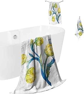 hengshu Artichoke Microfiber Towel Sets for Bathroom Floral Bouquet Art Luxury Bath Towels Washcloths