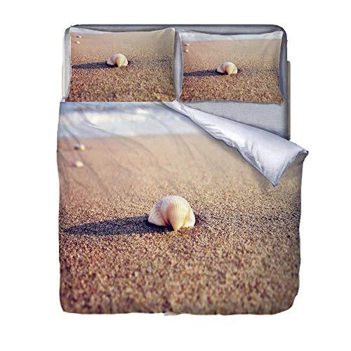 Juego de Ropa de Cama Concha en la Playa Funda De Edredón 3D Imprimiendo, Cremallera Funda Nórdica y Funda de Almohada 140cm x 200cm