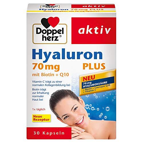 Doppelherz Hyaluron 70 mg PLUS mit Biotin + Q10 – Biotin trägt zur Erhaltung normaler Haut bei – 1 x 30 Kapseln