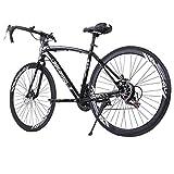 High Carbon Steel Road Bike for Men Women,700C Wheels Road Bike 21 Speed Dual Disc Brake,...
