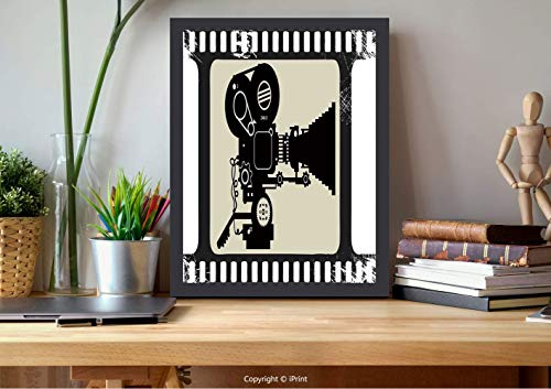 AmorFash №11460 Frame Art Wall,Theater, Frame Pattern with Silhouette of Reels in A Projector, Dark Taupe Beige Black, Best for Gifts