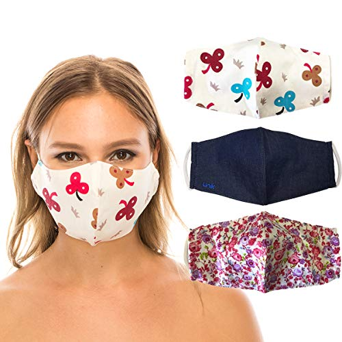 unik Cloth Face Covering with Filter Pockets, 3 Pack, 2 layer, Cotton, Washable, Reusable,Multi Pack-Denim/905Rose/BeigeClover Adult Size