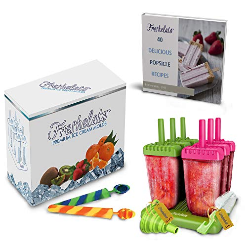 Freshelato - EIS am Stiel/Wassereisformen Set + 2 x Silikon EIS Pop Form + Trichter + Bürste + Rezeptbuch (Ebook auf Deutsch)