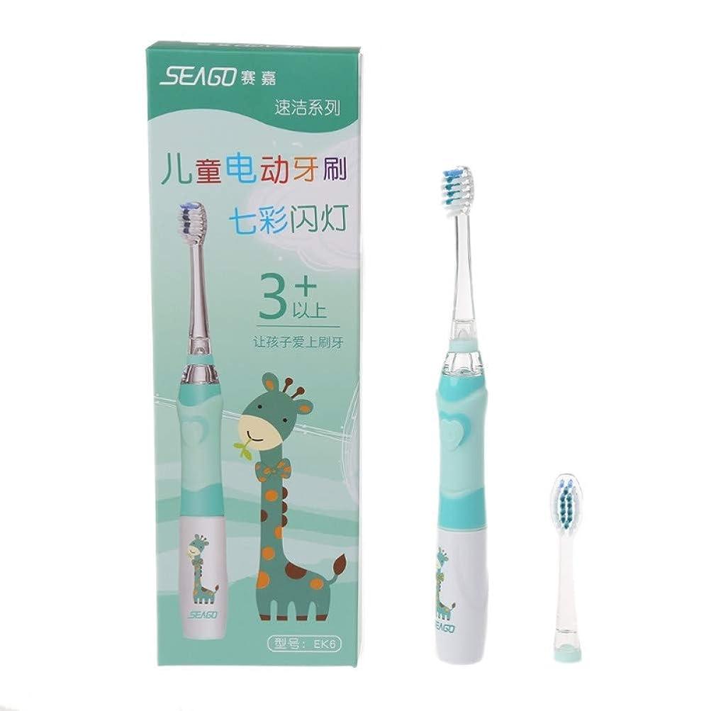 意味薄めるハンマー子供のための家族の電動歯ブラシは緑の取り替え可能なスマートなタイマーを防水します