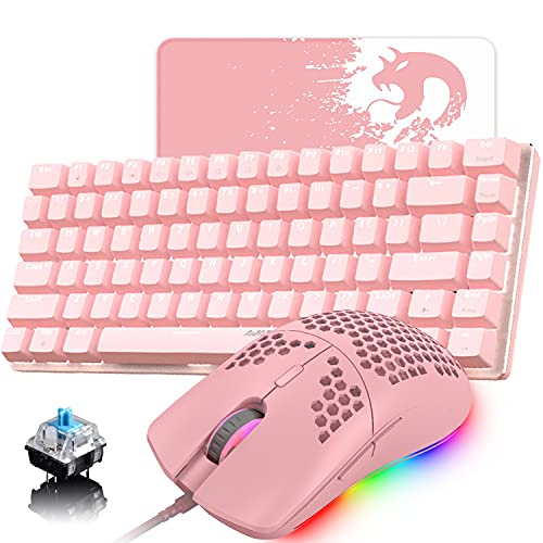Pink Gaming Keyboard and Mouse,3 in 1 Gaming Set,White LED Backlit Wired Gaming Keyboard,RGB Backlit 6400 DPI Lightweight Gaming Mouse with Honeycomb Shell,Large Mouse Pad for PC Game(Pink)