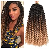 Yunkang 7 Packs Passion Twist Hair Water Wave Synthetic Braids for Passion Twist 22 Roots Short Bohemian Curly Crochet Braiding Hair Extensions (14inch, T1B/30/27)