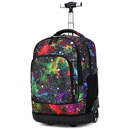 19 Inch Wheeled Backpack Lightweight Rolling School Book Pack, Multifunction Student Trolley Book Bags for Boys and Girls