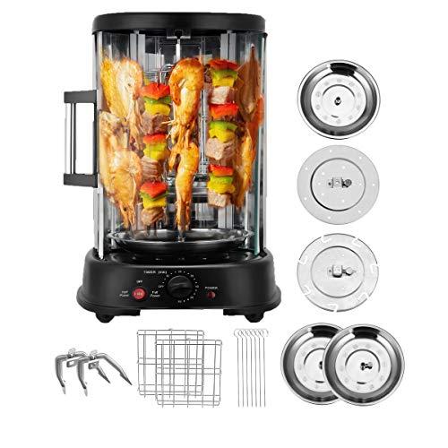 Kacsoo Girarrosto Elettrico Rotante Verticale Senza Fumo, 360 ° Automatico Rotante Senza Fumo Barbecue BBQ Kebab Grill Macchina per pentole Spiedo Fornello