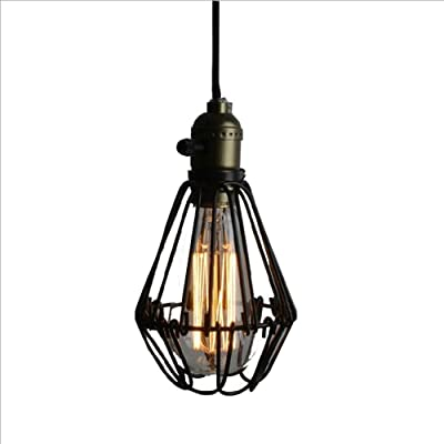 LRD Retro Industrial Wind Iron Cage Chandelier Attic Metal Black Antique Ceiling Lamp Creative Clothing Coffee Shop Bar Decoration Chandelier E27 Edison Light Bulb (without Light Source)