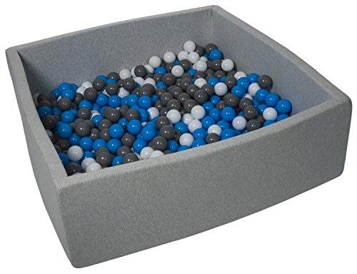 Velinda Piscine a Balles pour Enfant, Dimensions:120x120 cm, Aire de Jeu + 600 Balles (Couleurs des Balles: Blanc, Bleu, Gris)