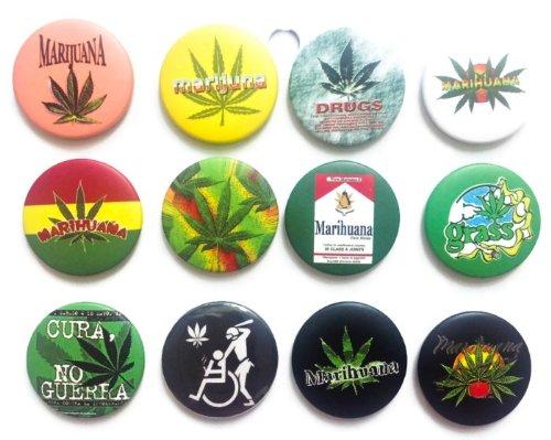 Marijuana Marihuana hierba impresionante calidad lote 12 nuevo Pin nuevo botón insignia 3.2 cm