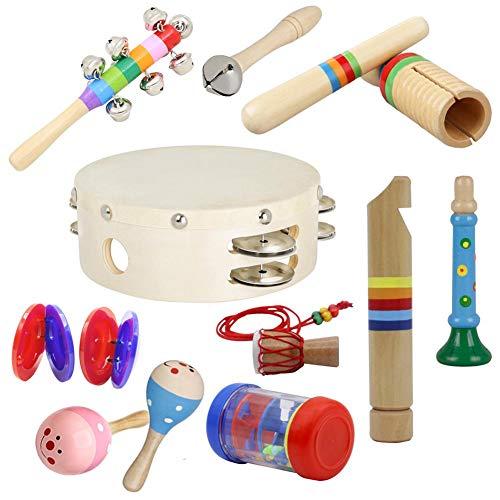 FORYOURS 10PCS Musikinstrumente Musical Instruments Set Spielzeug, Holz Musik Percussion Rhythmus Instrumenten Percussion Instrumente Set, Orff Instrumente Set Für Kleinkinder Und Baby