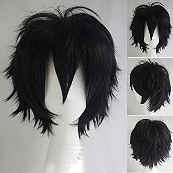 S-noilite Unisex Short Cosplay Hair Wig Women Men Male Fluffy Straight Cartoon Anime Con Party Costume Pixie Wigs Black