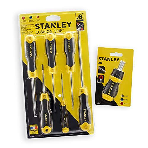 Stanley STHT98181-0 Kussengreepset met ratel multibit schroevendraaier, 6 stuks