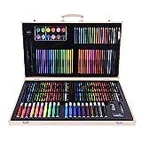 Juego de pinceles para dibujo para niños, 180 unidades, caja de madera