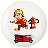 alles-meine.de GmbH großer Teller - Kinderteller -  Feuerwehr - Feuerwehrmann & Feuerwehrauto  - Ø 21 cm - aus Porzellan / Keramik - Speiseteller / Frühstücksteller / Eßteller ..
