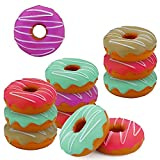 SRENTA 3' Rainbow Novelty Squishy Donut Stress Balls, Squeeze Stress Relief Donuts, Pack of 12