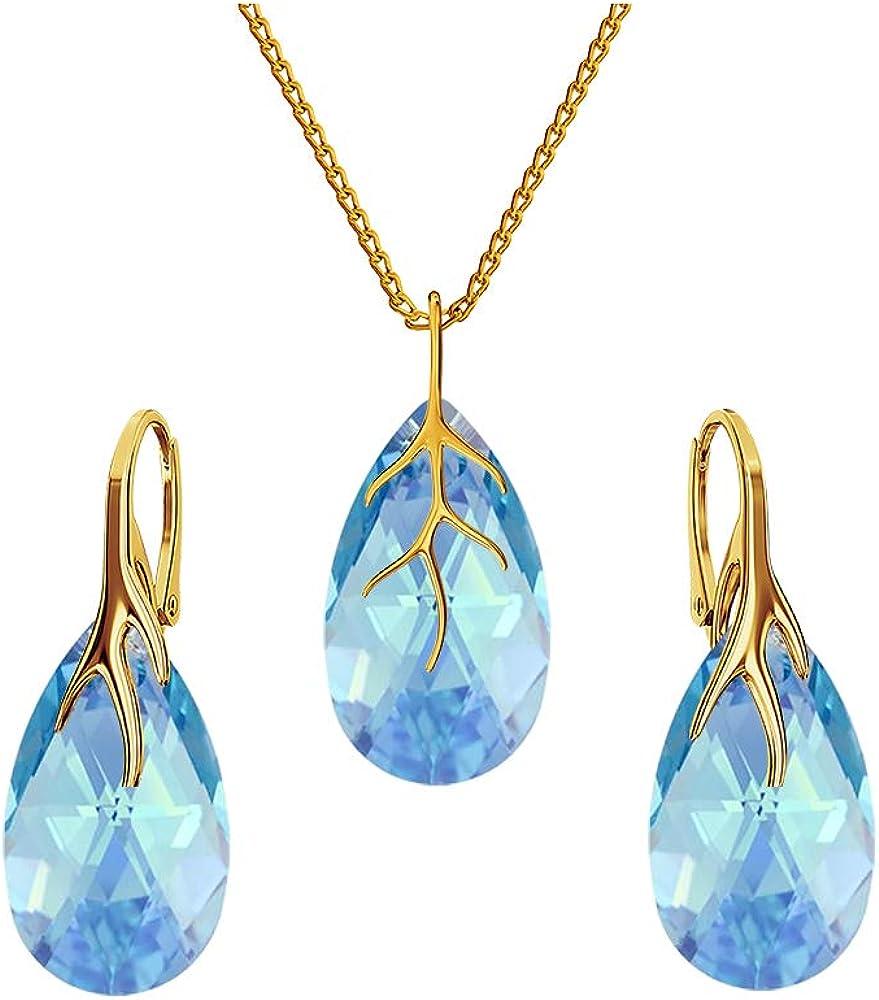 Set di gioielli da donna orecchini e collana argento 925 placcato oro 24 k Ba/39