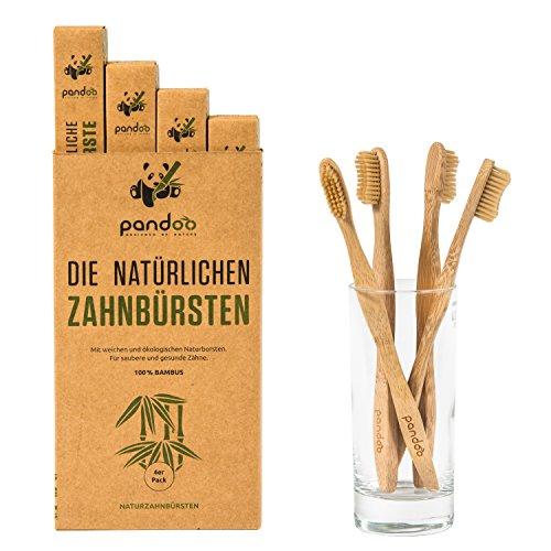 pandoo Cepillos de Dientes en Bambú | Opción de Cepillo y Cerdas Ecológicos, Antibacterianos y Biodegradable a los Cepillos de Plástico | Vegano – Libre de BPA - Higiene Bucal y Dental | 4 Unidades