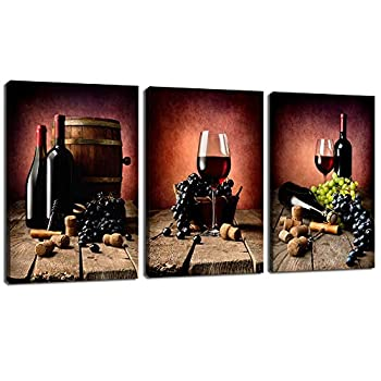 LevvArts - 3 Piece Canvas Wall Art Vintage Red Wine Grape Pictures Print on Canvas for Kitchen Dining Room Pub Wall Decor Still Life Painting Stretched and Framed Ready to Hang