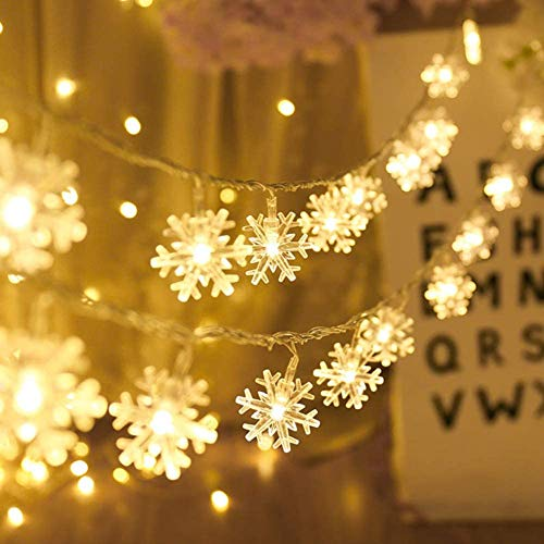 Schneeflocke Lichterketten, 20 ft 40 LED batteriebetriebene Lichterketten, 2 Beleuchtungsmodi, Dekoration für Innenbeleuchtung im Freien, Schlafzimmer, Hochzeit, Geburtstag, Valentinstag, Weihnachten