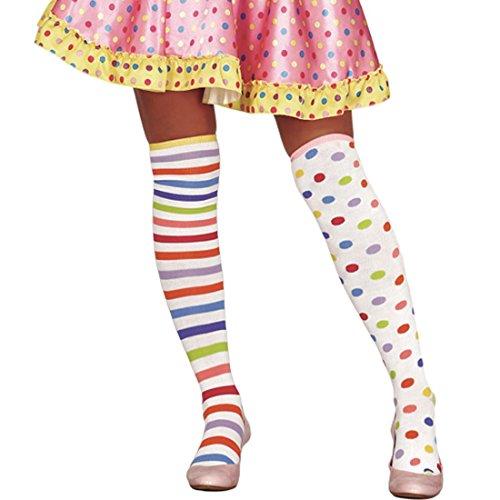 NET TOYS Bunte Overknees Kniestrümpfe Clown gestreift & gepunktet Überknie Strümpfe Clownkostüm Clownstrümpfe Harlekin Ringelstrümpfe Damen Damenkniestrümpfe