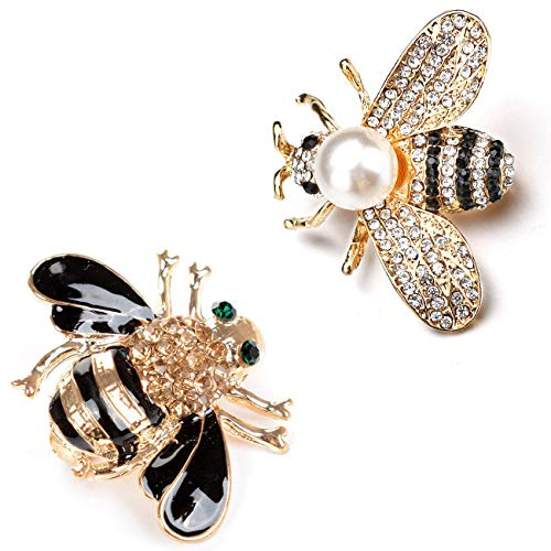 DTWAWA 2Pcs Bee Brooch Pin Set for Women, Crystal Brooches for Ladies Banquet Wedding