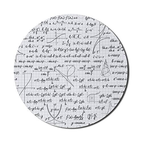 Equations Alfombrilla de ratón para ordenadores, fórmulas matemáticas temáticas, esquemas y cálculos en cuadrícula, redonda, antideslizante, gruesa, moderna alfombrilla de ratón para juegos, redonda d