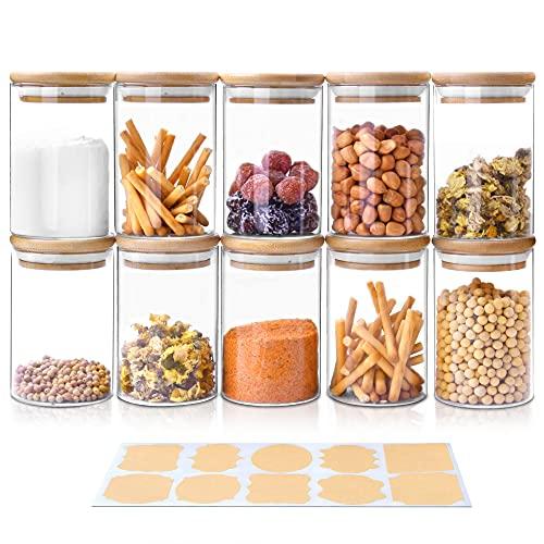 Tarro de Vidrio de Almacenamiento 10 PCS, 250ml Tarros de Cristal para Conservas Envases Cristal Alimentos, Recipientes Herméticos para Café Recipiente Cereales té