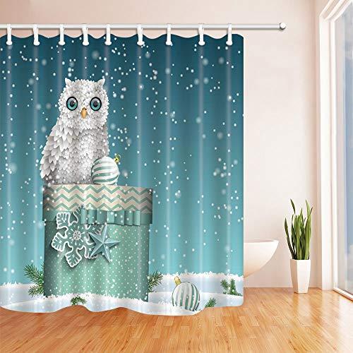mintlmk schattige uil met kerstbal op doos in sneeuw douchegordijnen voor badkamer polyester stof waterdichte bad gordijn douchegordijn haken inbegrepen 71X71in