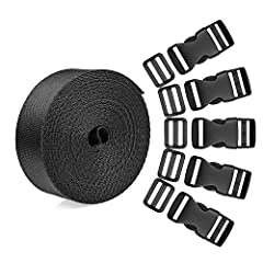 Quantity: 15 set plastic 1 inch flat side release buckles and tri-glide slides with 1 roll 5 yards nylon webbing straps Size: plastic buckles, tri-glide slides and webbing straps are matched in 1 inch for DIY making luggage strap, pet collar, backpac...