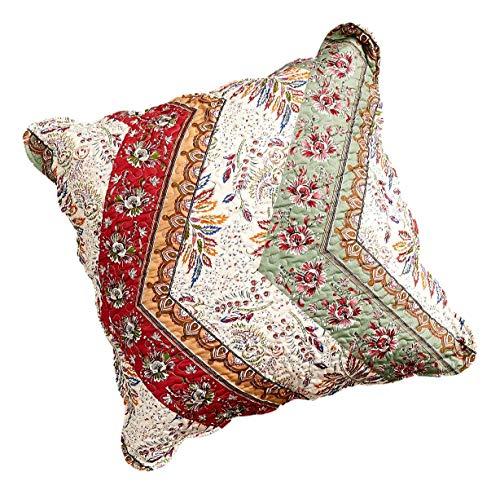 "DaDa Bedding Bohemian Euro Pillow Sham Cover - Chevron Pattern Patchwork Scalloped - Rustic Cranberry Sage Floral Botanical - Red Green & Orange - 26"" x 26"" - 1-Piece"