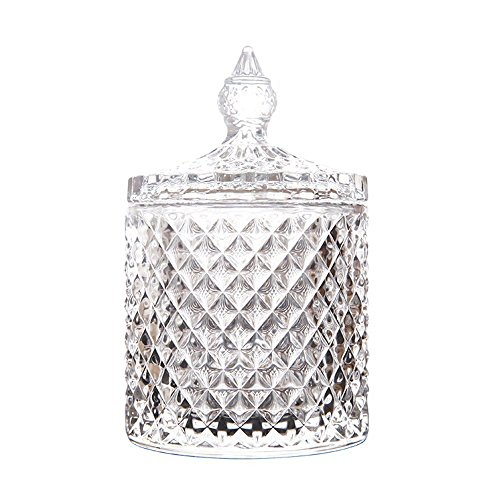 RockTrend Home Decorative Butterfly Candy Jar Candy Dish Candy Buffet Storage Container Clear Crystal Diamond Faceted Jar with Crystal Lid-Large-16 OZ (Round, 16 OZ)
