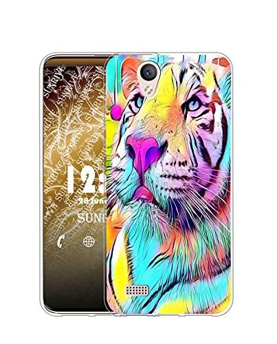 Sunrive Kompatibel mit Sony Xperia C4 Hülle Silikon, Transparent Handyhülle Schutzhülle Etui Hülle (Q Farbiger Tiger)+Gratis Universal Eingabestift MEHRWEG
