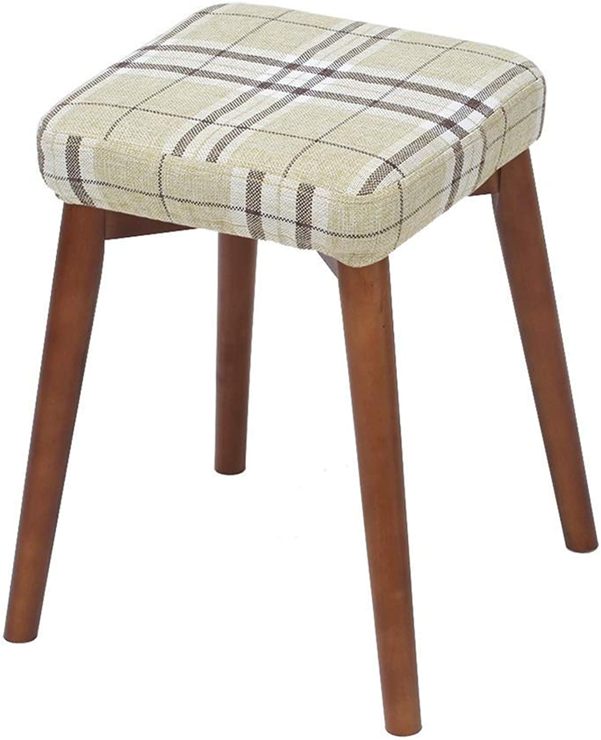 Solid Wood Stool Creative shoes Bench Fashion Fabric Dressing Stool Modern Simple Home Adult Dining Stool Dressing Stool HENGXIAO (color   Lattice)