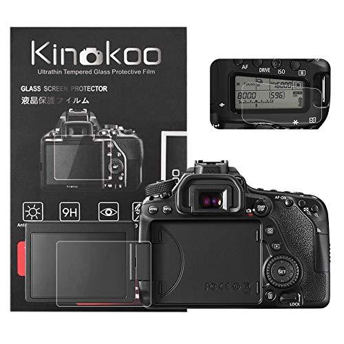 kinokoo Película de Vidrio Templado para Canon EOS 70D/80D/90D Crystal Clear Film Protector de Pantalla Canon 70D 80D con Protector de Pantalla Superior (Paquete de 2)