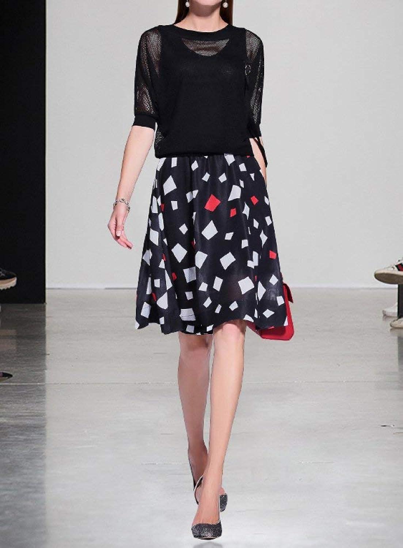 Haiyugua Summer New Print Dress Female Fashion TwoPiece Suit Slim A Word Skirt Sleeve Suit Skirt