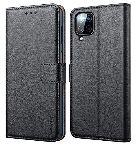 Ganbary Handyhülle für Samsung Galaxy A12 Hülle, Premium Leder Tasche Flipcase [Kartenschlitzen] [Magnetverschluss] [Standfunktion] kompatibel mit Samsung A12 Schutzhülle, Schwarz