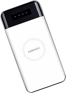 香港MOMAX 摩米士 10000毫安二合一无线移动电源 Qi无线充电器+充电宝 通用型手机外置电池 智能快充时尚新体验 白色