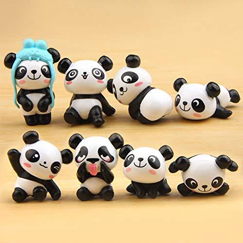 Whiie891203 - Set di 8 Statuette da Giardino in Miniatura a Forma di Panda
