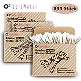 O³ Wattestäbchen Bambus // 4x 200 Stück (800 insgesamt) ohne Plastik // 100% biologisch Abbaubar // Aus Bambus und reiner Baumwolle // Ohrenstäbchen